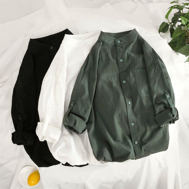 棉七分袖襯衫男2021夏季襯衣男立領短袖襯衫五分袖大碼襯衣男純色