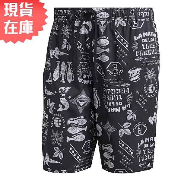 【現貨】Adidas GRAPHIC 男裝 短褲 海灘褲 口袋 網狀內裡 隨機圖案 黑【運動世界】GM2226
