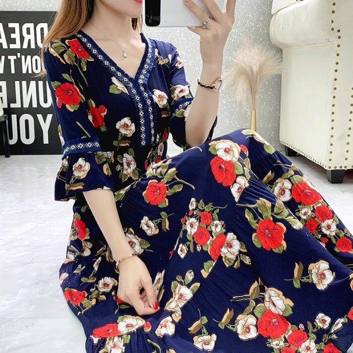 短袖洋裝 民族風碎花沙灘連身裙2021夏日新款七分袖度假顯瘦棉綢裙大碼女裝 【618特惠】