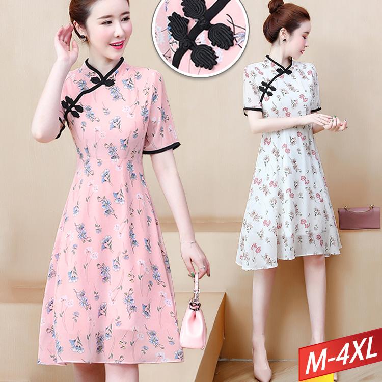 現貨出清 - 旗袍領印花雪紡洋裝(2色) M~4XL【803209W】-流行前線-