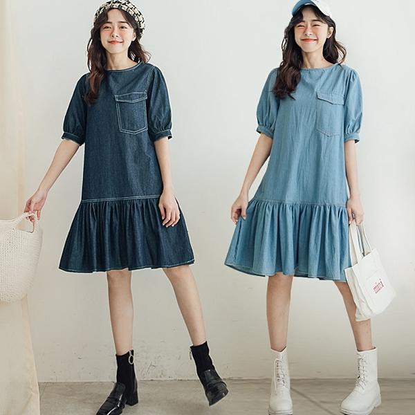 MIUSTAR 單口袋荷葉下襬澎袖牛仔洋裝(共2色)【NJ1064】預購