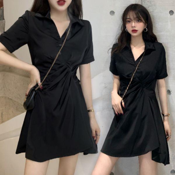 M-2XL韓版氣質連身裙 收腰顯瘦不規則短版裙子V領短袖洋裝(黑色)-優美依戀