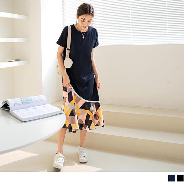 《DA8523》涼爽高含棉不對稱拼接配色幾何洋裝 OrangeBear