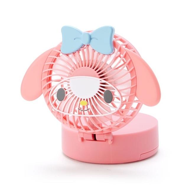 小禮堂 美樂蒂 造型隨身電風扇 附頸掛繩 USB電風扇 手持電風扇 (粉)