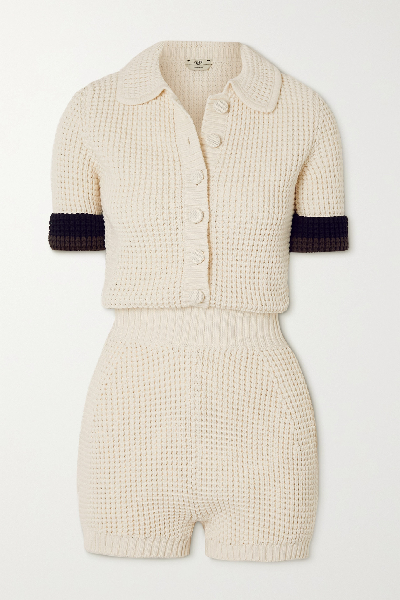 FENDI - Striped Knitted Playsuit - White - IT40