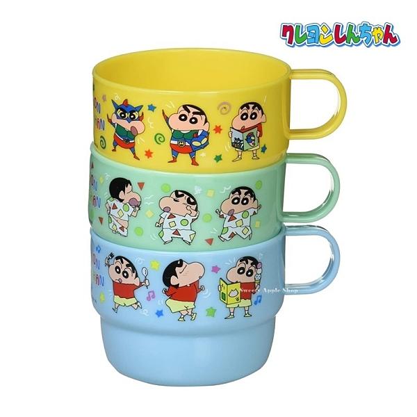 【SAS】日本限定 蠟筆小新 野原新之助 多裝扮版 兒童水杯 / 杯子 3入套組 230ml (黃/綠/藍)