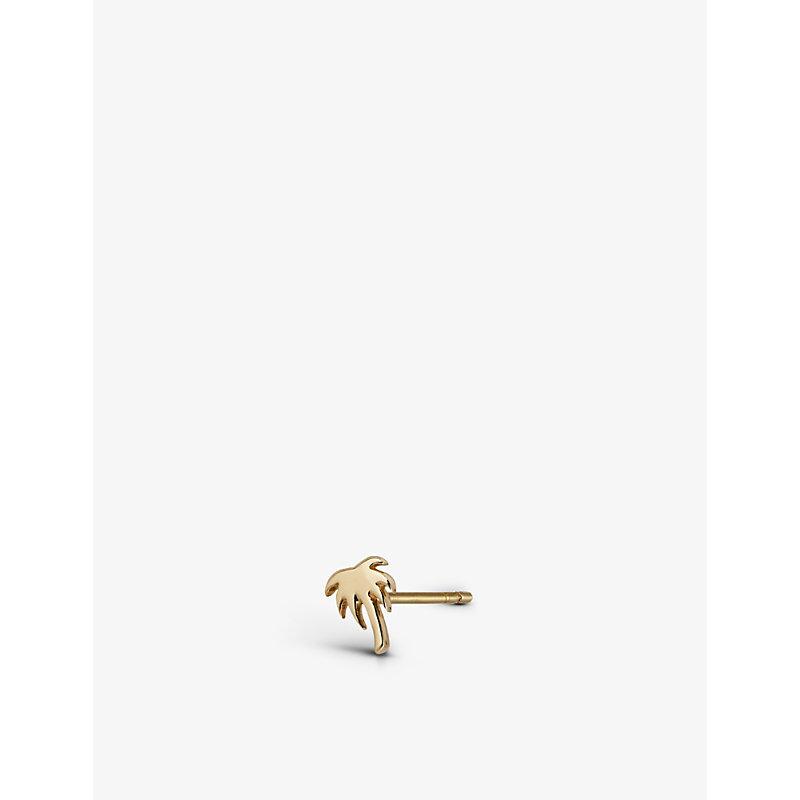 Palm Tree 9ct yellow-gold single stud earring
