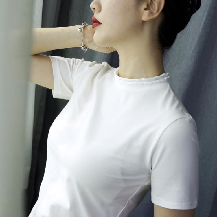 純棉T恤 小半高領短袖T恤女夏天修身打底衫純棉木耳花瓣綠色薄款上衣【免運】