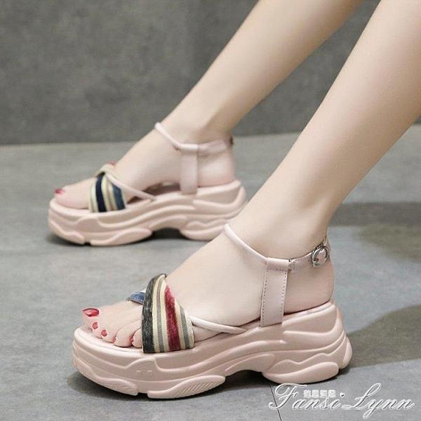 仙女風涼鞋女2020年夏季新款百搭厚底松糕鞋子增高女鞋時尚ins潮 范思蓮恩