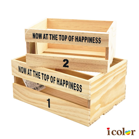 英字混裝方形木盒