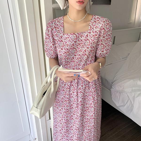 洋裝 韓系度假風復古碎花方領泡泡袖中長款連身裙 花漾小姐【預購】