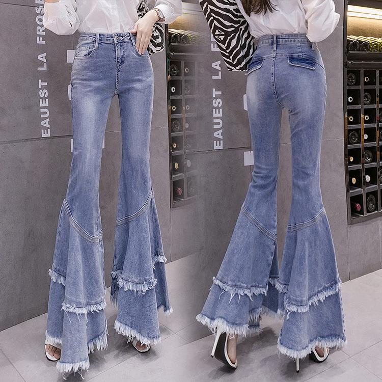 VIVILIAN歐美風高腰顯瘦超大喇叭寬鬆垂感包臀緊身褲