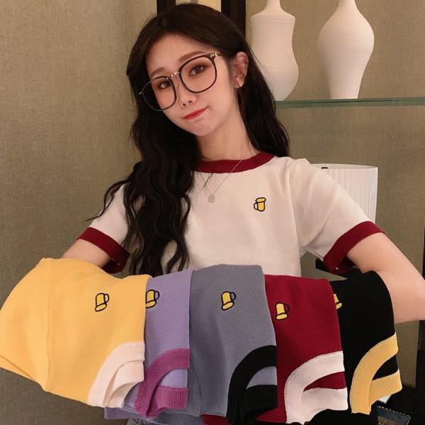 韓版撞色復古設計感小眾短袖針織衫 可愛杯子刺繡ins風短版上衣(5色)-優美依戀
