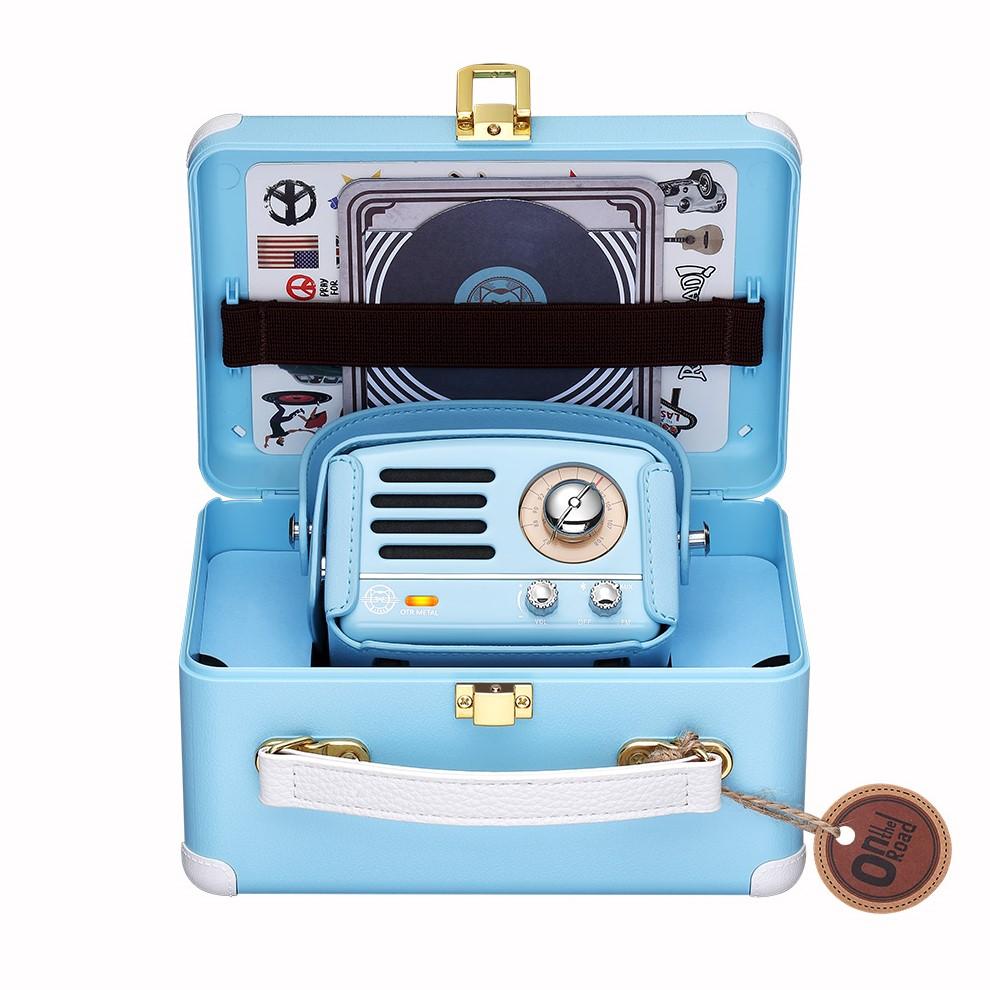 MUZEN OTR Metal 經典復刻藍牙音響收音機(豪華版)內含專屬原廠皮套+提背帶-希臘藍