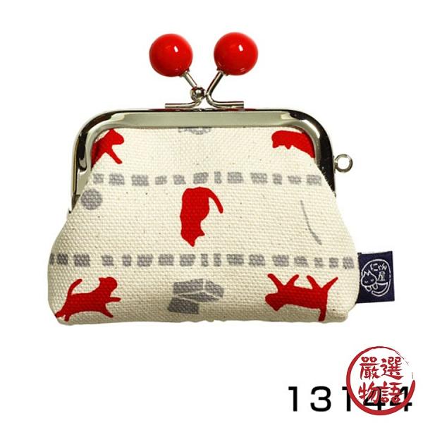 【日本製】 貓帆布系列 萬用零錢口金包 貓咪與寶物圖案 紅色 SD-7068 - 日本製