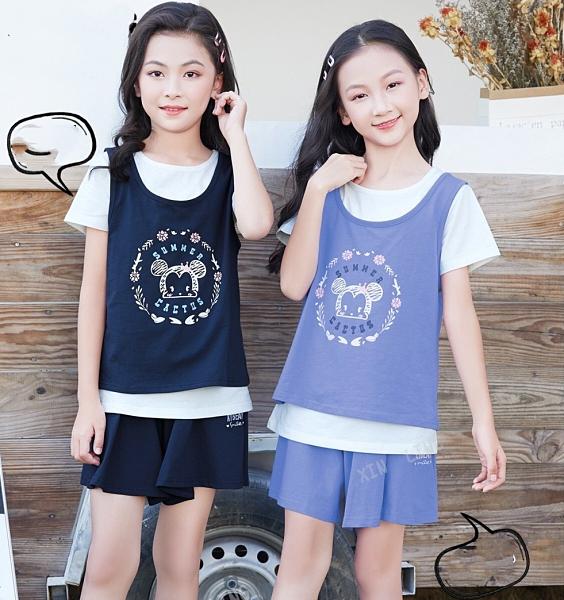 淺藍 大童 可愛手繪米妮兩件式短T 春夏童裝 女童棉T 女童上衣 女童短袖 女童T恤