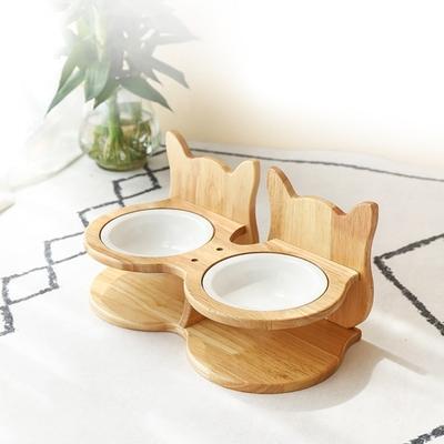 有喵病 木質貓耳雙碗寵物陶瓷碗架JZ-C1634