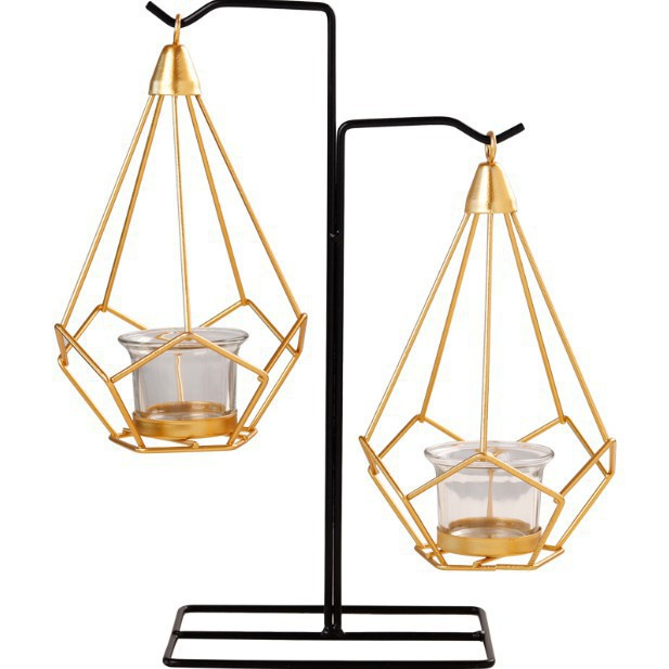 復古鐵藝燭臺擺件 西餐蠟燭臺 家用歐式 燭光晚餐浪漫餐桌裝飾小擺設/可開超取