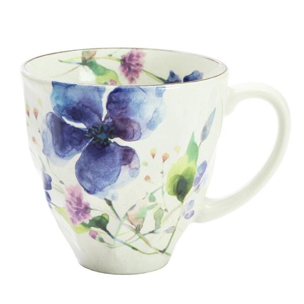 【日本製】花水彩系列 美濃燒馬克杯 鐵線蓮 藍色(一組:3個) SD-6642 - 日本製 美濃燒