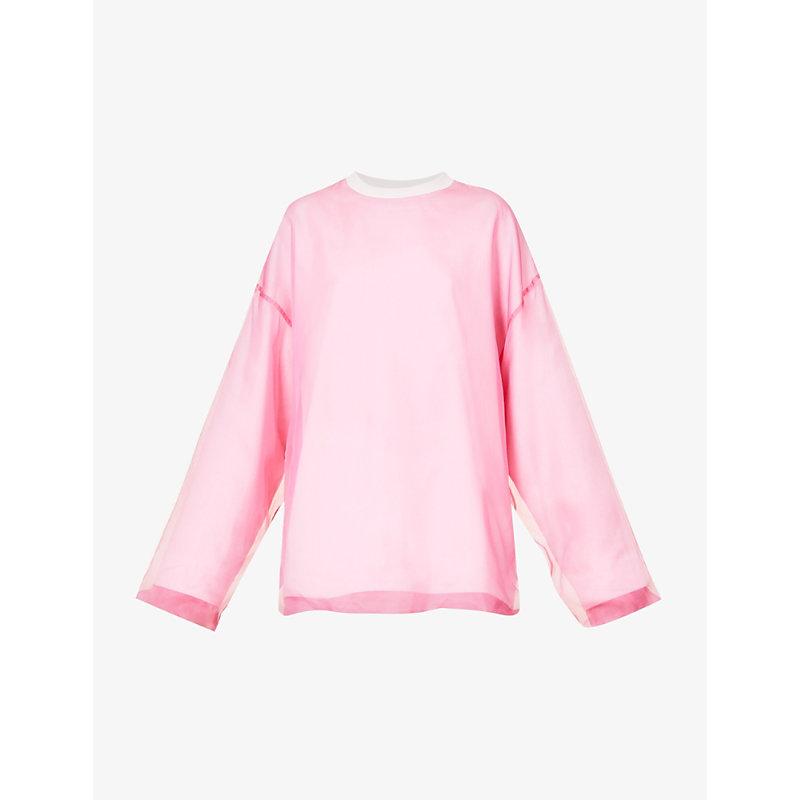 Oversized silk and cotton-blend sweatshirt