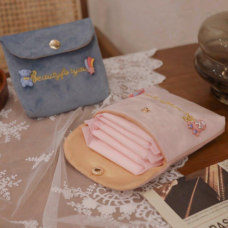ins可愛日系衛生巾收納包姨媽巾便攜小型大容量衛生棉m巾月事包