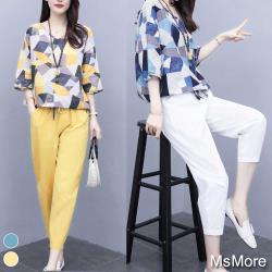 【MsMore】時尚幾何印花寬鬆棉麻九分休閒褲2件式套裝#109393現貨+預購(2色)