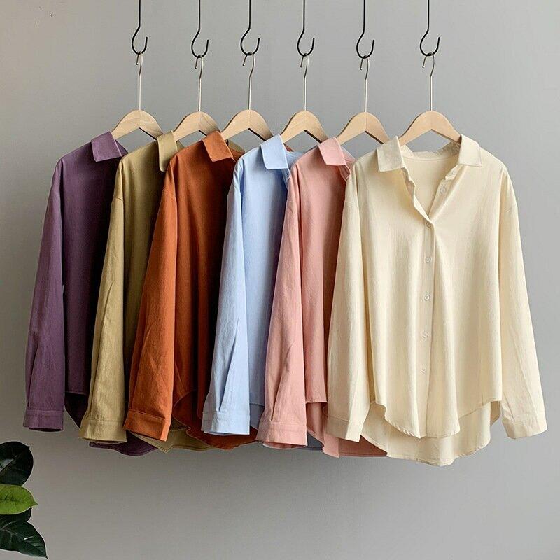 2020秋基礎款寬鬆白色襯衫女休閒襯衣純色磨毛糖果色外套