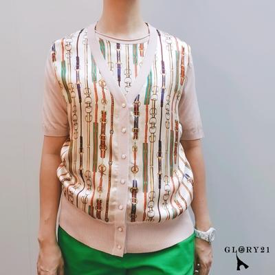 【GLORY21】新品-V領開襟拼接印花針織外套-粉紅色