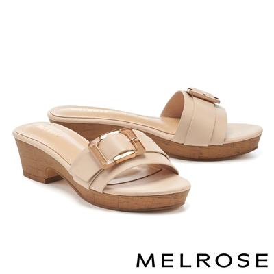 拖鞋 MELROSE 個性金屬透明方釦一字高跟拖鞋-米
