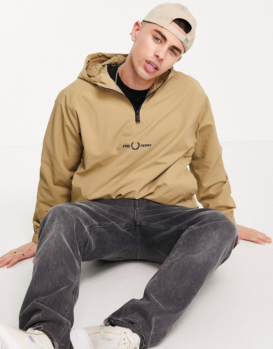 Fred Perry embroidered half zip jacket in tan-Brown