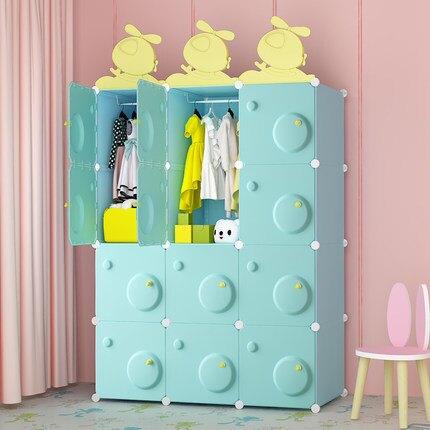 新品上市 簡易兒童衣櫃卡通簡約現代兒童兒童小衣櫥塑料收納布藝組裝經濟型jy