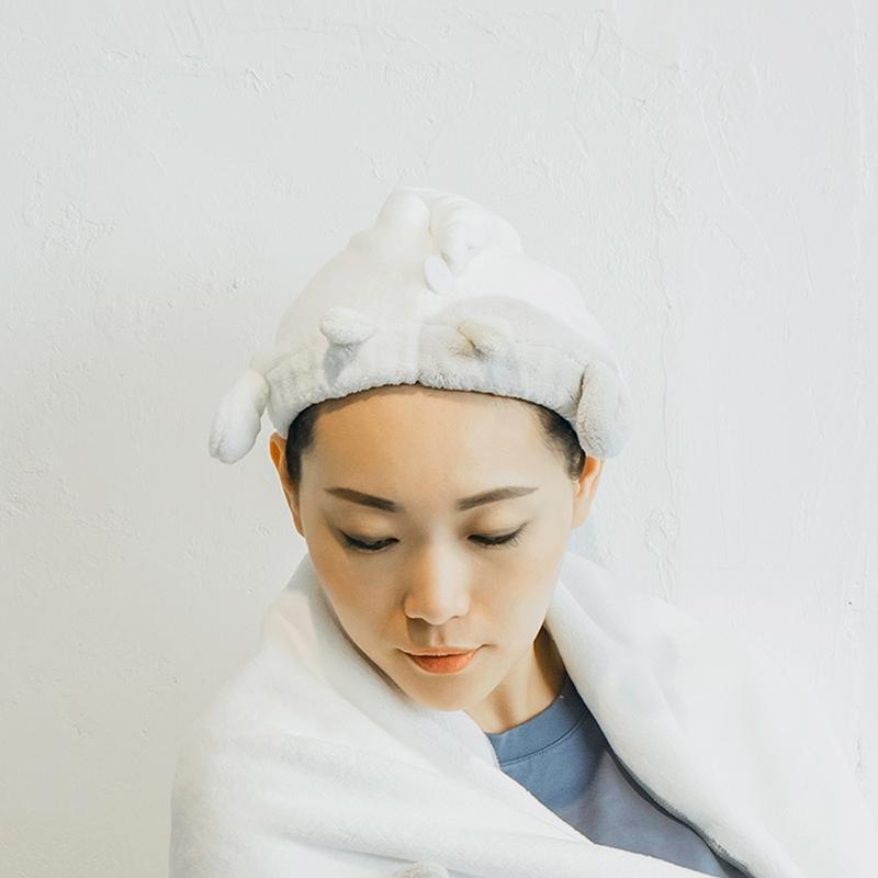 【獨家台灣限定款】動物造型超細纖維擦頭包巾 哈士奇