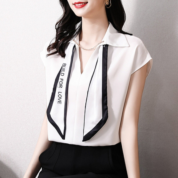 領結襯衫女短袖韓版寬松顯瘦鏈條套頭氣質小衫NE241紅粉佳人