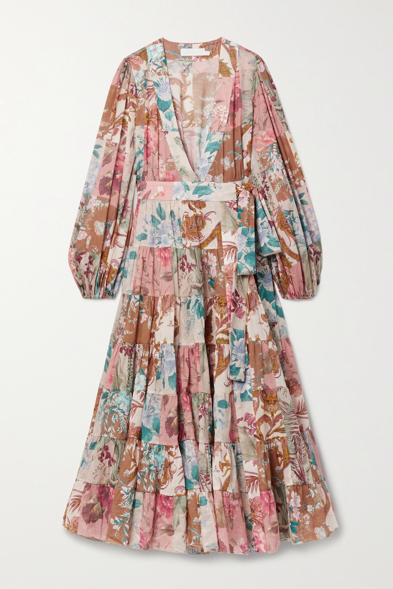ZIMMERMANN - Cassia Patchwork Floral-print Cotton-voile Wrap Dress - Neutrals - 1