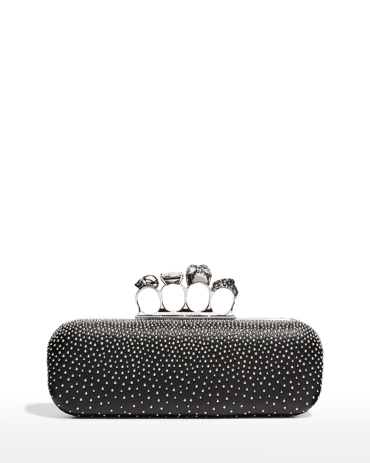 Four-Ring Skull Studded Long Clutch Bag