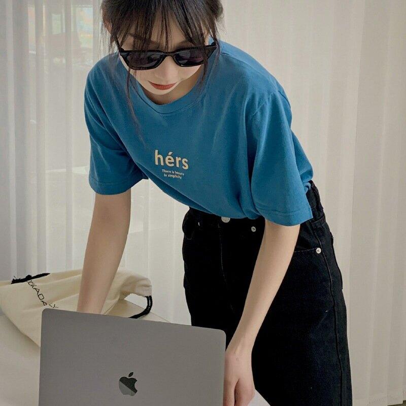 2021夏季印花字母短袖T恤女圓領基礎款ins半袖寬鬆顯瘦上衣潮