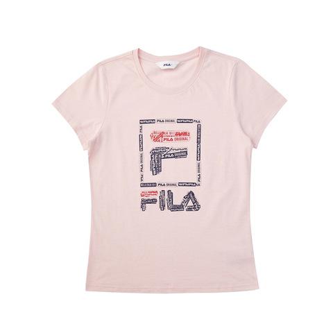 FILA 女圓領T恤-淺粉 5TEV-1521-PK