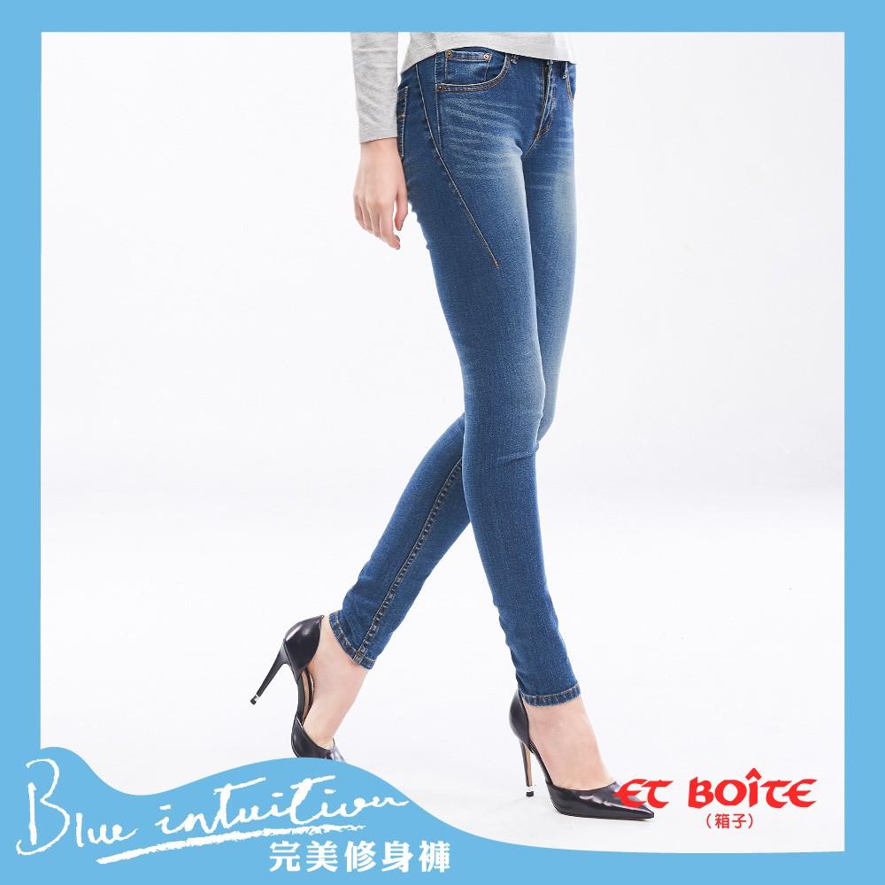 BLUE WAY ET BOiTE 箱子-高腰窄管直筒褲/一片式高腰窄直筒褲(淺藍)