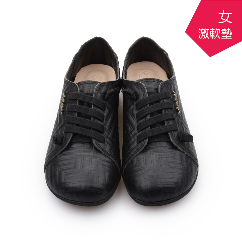 【A.MOUR 經典手工鞋】特色饅頭鞋 - 迷宮黑(2839)