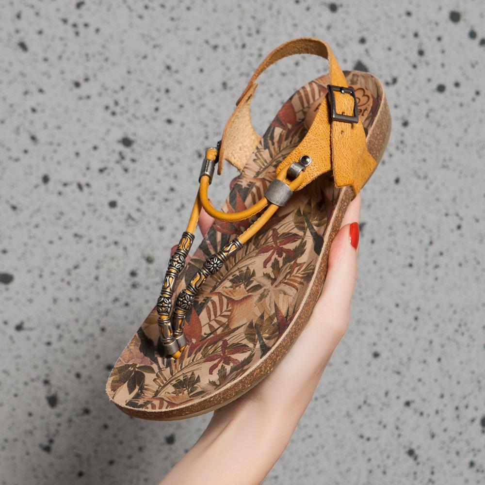 串珠彩繪夾腳兩穿涼拖鞋 土黃 (122220)