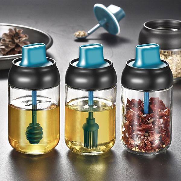 調料罐 油刷 刷油瓶 油鹽醬醋 15~18 加厚玻璃 密封罐 分裝瓶 勺蓋一體 調味瓶【A039】生活家精品