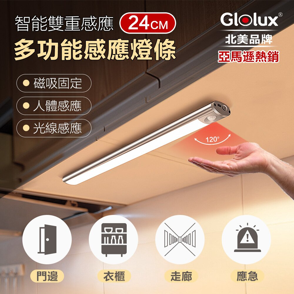 【Glolux 北美品牌】多功能USB磁吸式LED智能感應燈 24公分(白光)