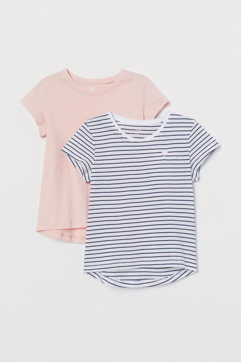 H & M - 2件入棉質T恤 - 藍色
