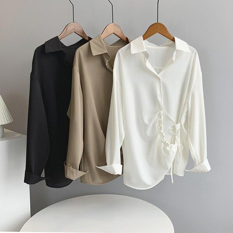 2021春新寬鬆黑色不規則設計感襯衫女休閒純色BF風外套