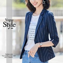 【GF 快時尚】經典翻領反摺袖條紋造型西裝外套(M-XL)