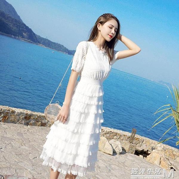 春夏裝法式超仙的法國小眾中長款洋氣仙女裙蕾絲蛋糕裙洋裝 遇見生活