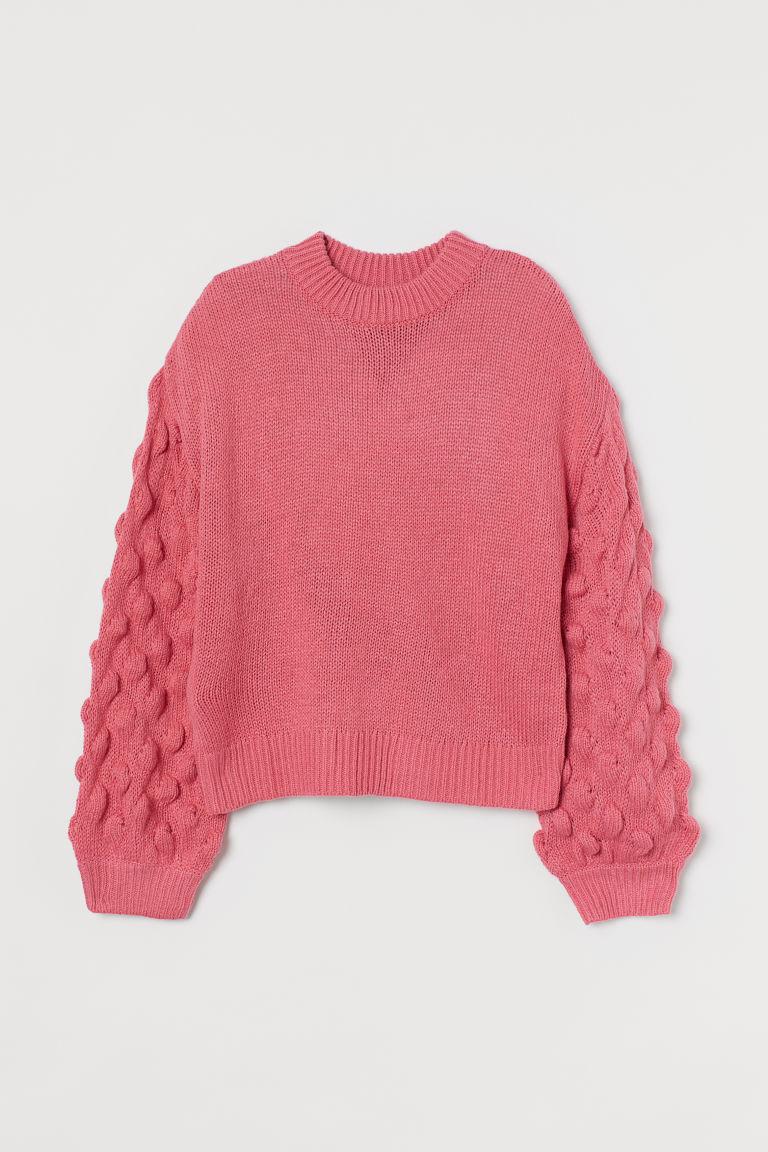 H & M - 燈籠袖套衫 - 粉紅色