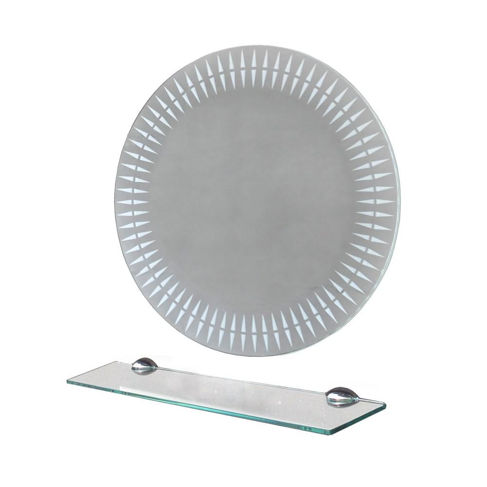 噴砂圓型掛鏡 附平台58x58cm