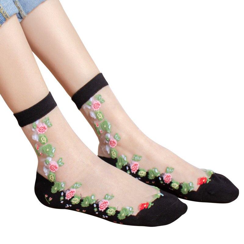 5雙裝夏季薄款繡花玻璃絲短襪女水晶絲棉底防脫絲短筒透明絲襪