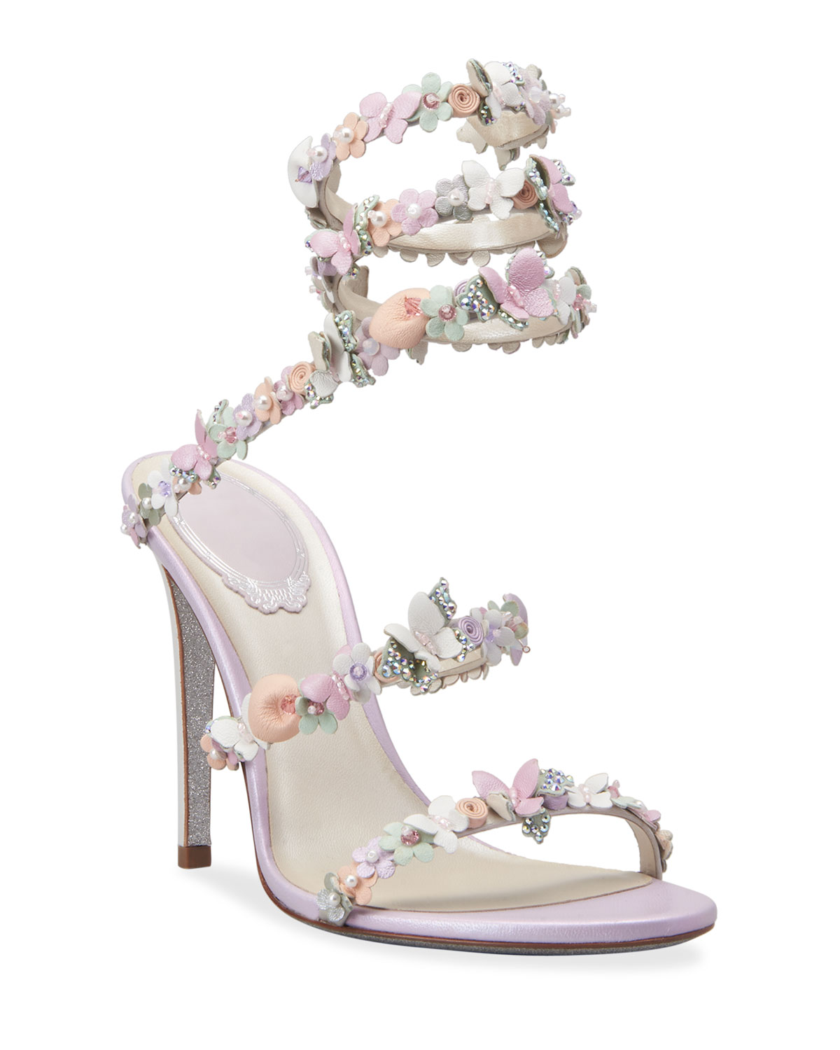 105mm Snake-Ankle Floral Butterfly Sandals
